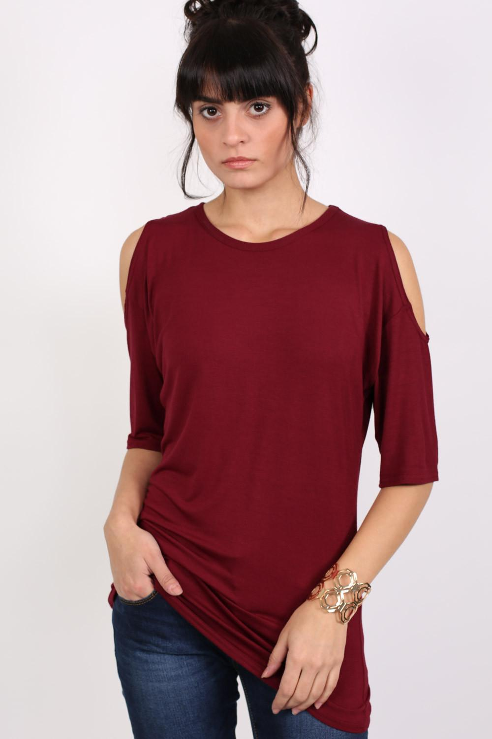 Cold Shoulder Tunic Top in Wine Red 0