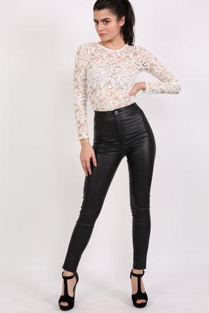 Faux Leather High Waisted Skinny Fit Trousers in Black 0