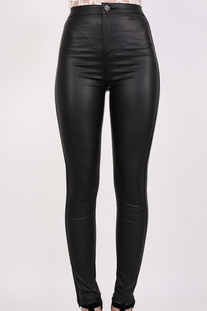 Faux Leather High Waisted Skinny Fit Trousers in Black 1