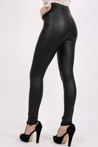 Faux Leather High Waisted Skinny Fit Trousers in Black 2