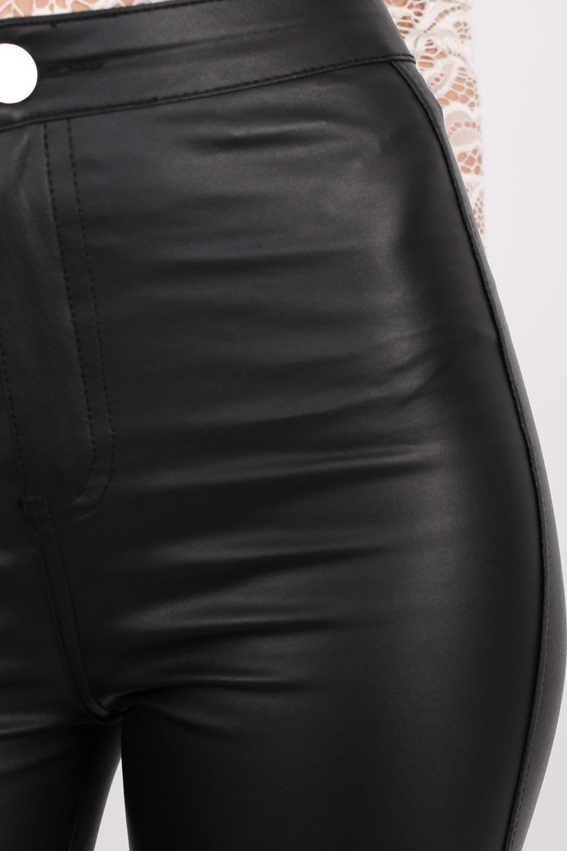 Faux Leather High Waisted Skinny Fit Trousers in Black 3