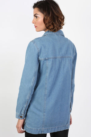 Long Denim Boyfriend Style Jacket in Light Denim 1