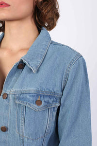 Long Denim Boyfriend Style Jacket in Light Denim 2