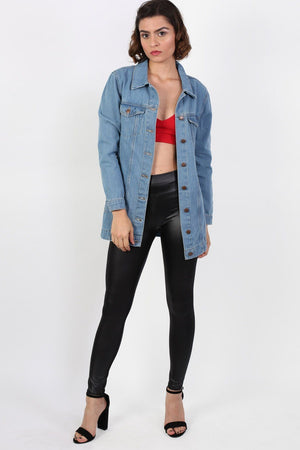 Long Denim Boyfriend Style Jacket in Light Denim 3