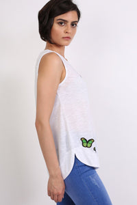 Butterfly Badge Detail Sleeveless Vest Top in White 1