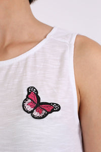 Butterfly Badge Detail Sleeveless Vest Top in White 2
