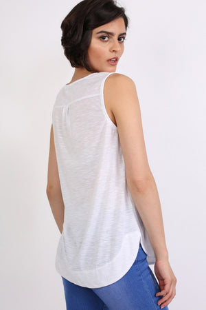 Butterfly Badge Detail Sleeveless Vest Top in White 3