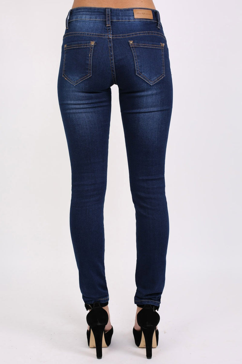 Dark Wash Skinny Jeans in Dark Denim 4