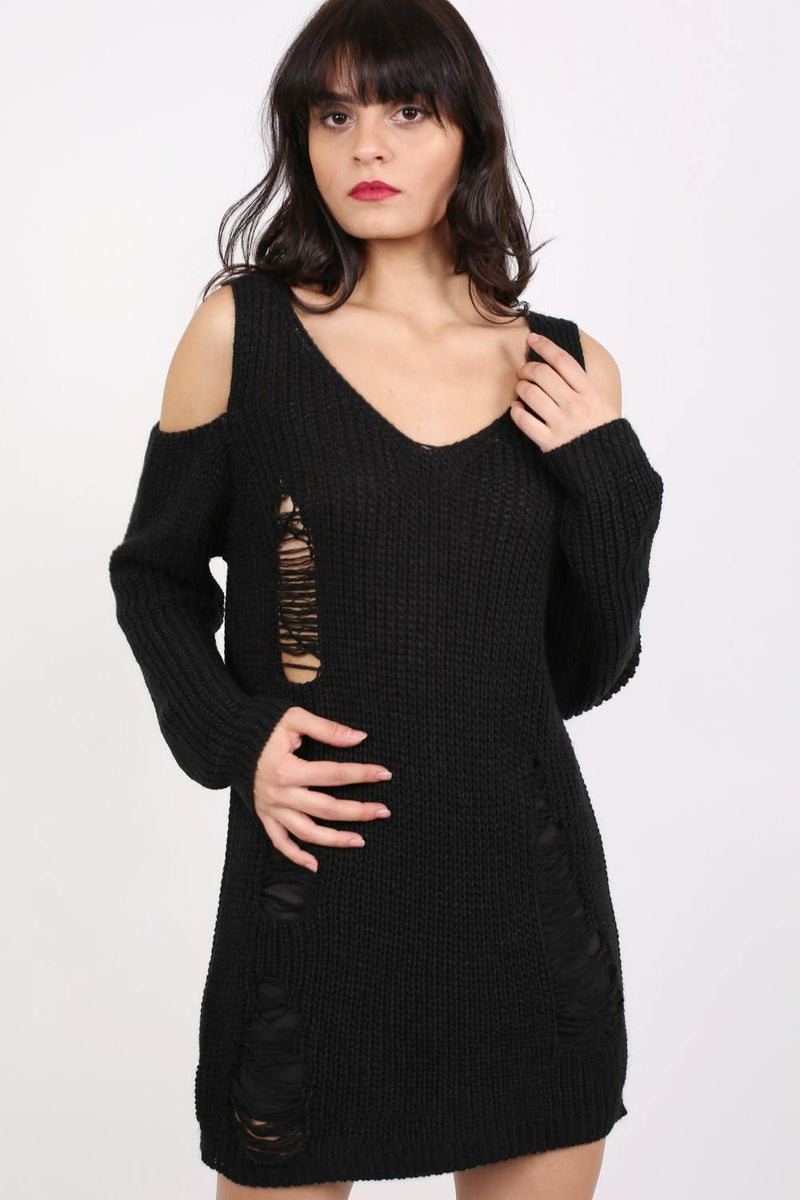 Cold Shoulder V Neck Frayed Long Sleeve Jumper Dress in Black 1