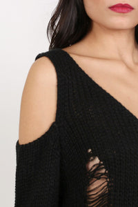 Cold Shoulder V Neck Frayed Long Sleeve Jumper Dress in Black 2