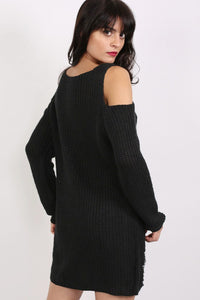 Cold Shoulder V Neck Frayed Long Sleeve Jumper Dress in Black 3