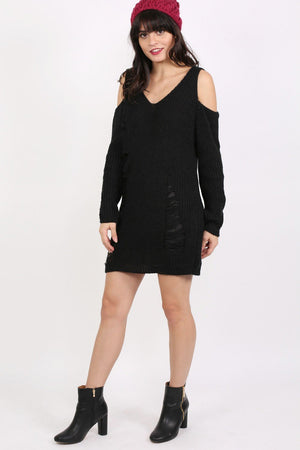 Cold Shoulder V Neck Frayed Long Sleeve Jumper Dress in Black 4