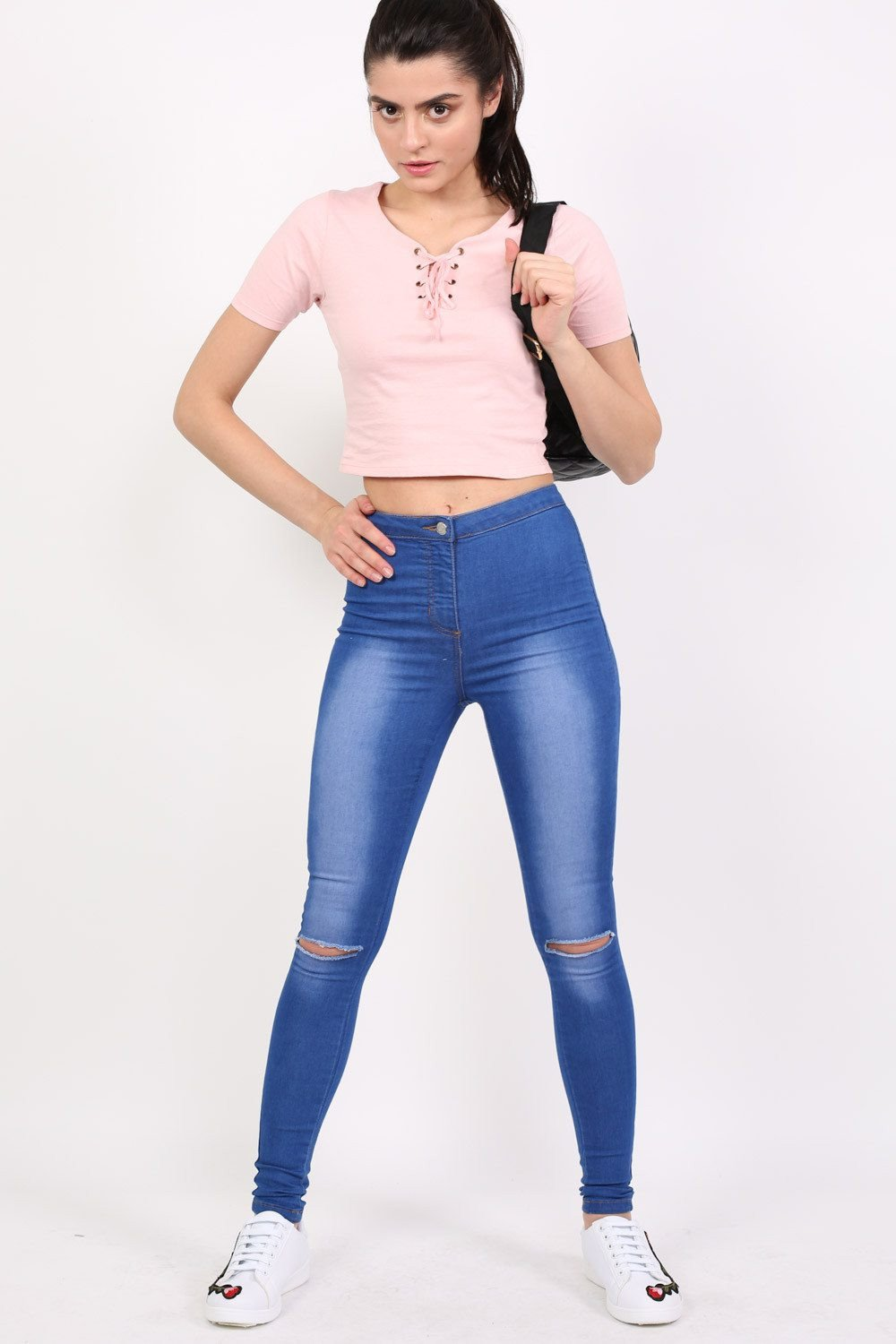 High Waisted Slash Knee Skinny Jeans in Denim 0