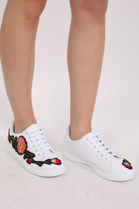 Embroidered Floral Trainers in White 0