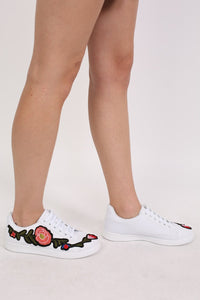 Embroidered Floral Trainers in White 1