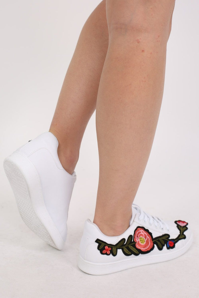 Embroidered Floral Trainers in White 2