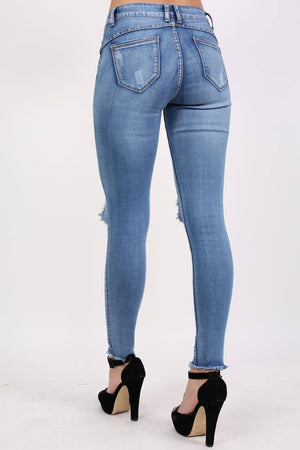 Frayed Hem Ripped Open Knee Skinny Jeans in Light Denim 2