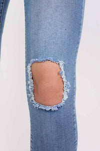 Frayed Hem Ripped Open Knee Skinny Jeans in Light Denim 3