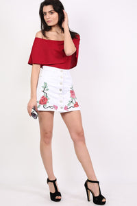 Floral Embroidered Front Button Denim Mini Skirt in White 0