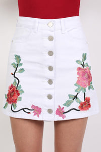 Floral Embroidered Front Button Denim Mini Skirt in White 1