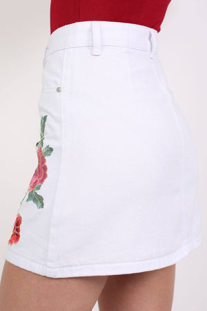 Floral Embroidered Front Button Denim Mini Skirt in White 2