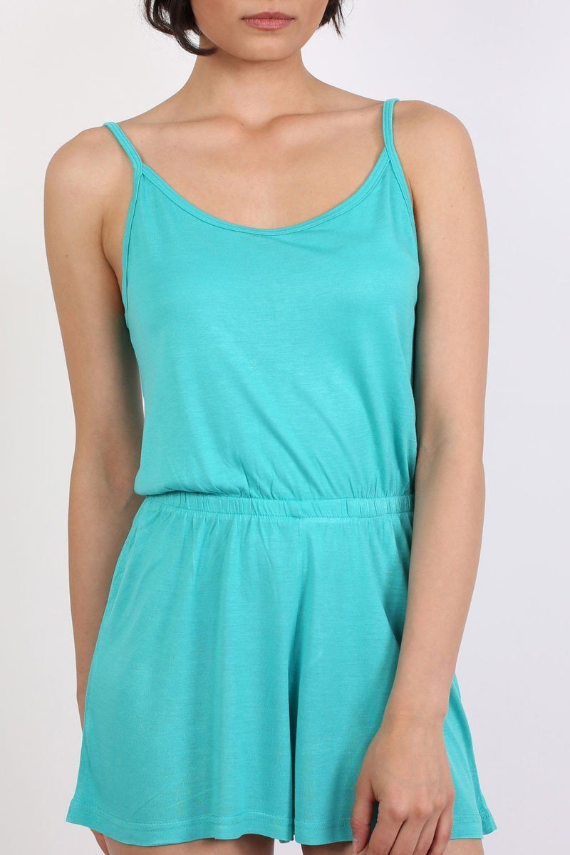 Plain Cami Strap Playsuit in Aqua Green 4