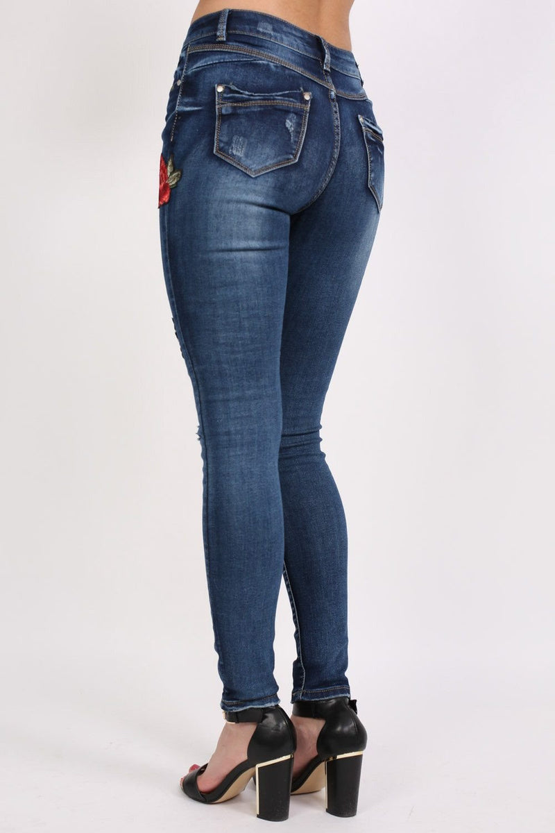 Floral Embroidered Distressed Skinny Jeans in Denim 2