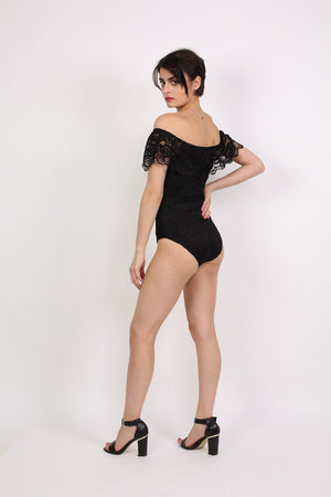 Lace Bardot Frill Bodysuit in Black 1