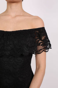 Lace Bardot Frill Bodysuit in Black 3