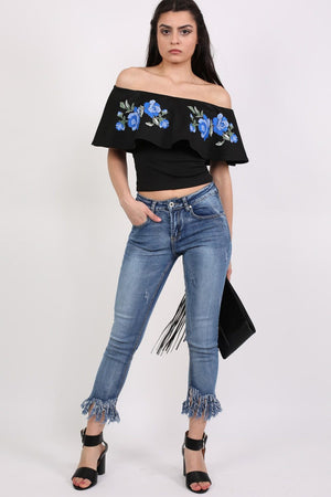 Extreme Frayed Hem Distressed Cropped Jeans in Denim 0