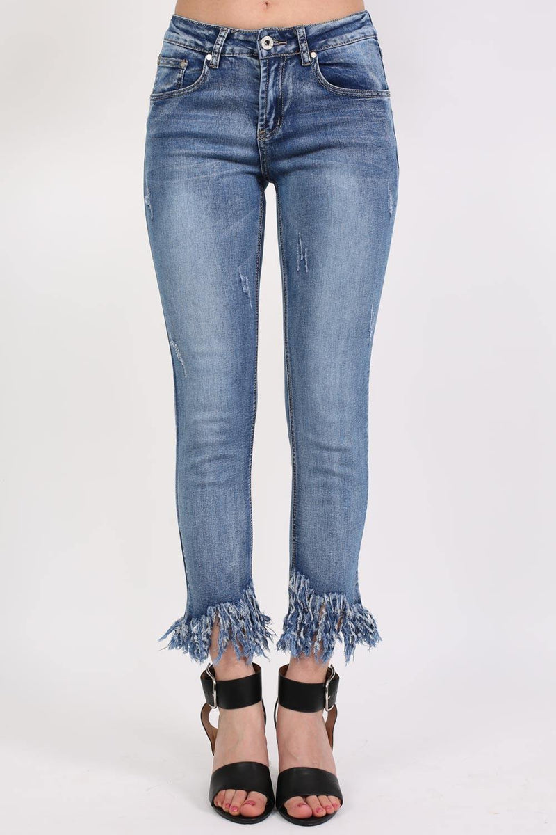 Extreme Frayed Hem Distressed Cropped Jeans in Denim 1