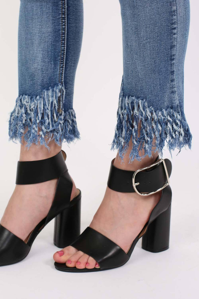 Extreme Frayed Hem Distressed Cropped Jeans in Denim 2