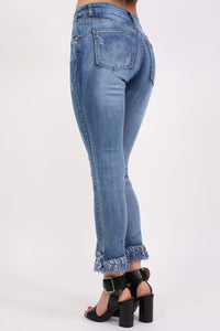Extreme Frayed Hem Distressed Cropped Jeans in Denim 3