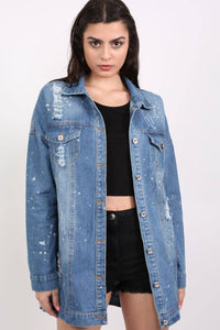 Oversized Paint Splattered Ripped Denim Jacket in Denim 1