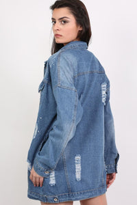 Oversized Paint Splattered Ripped Denim Jacket in Denim 2