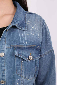 Oversized Paint Splattered Ripped Denim Jacket in Denim 3