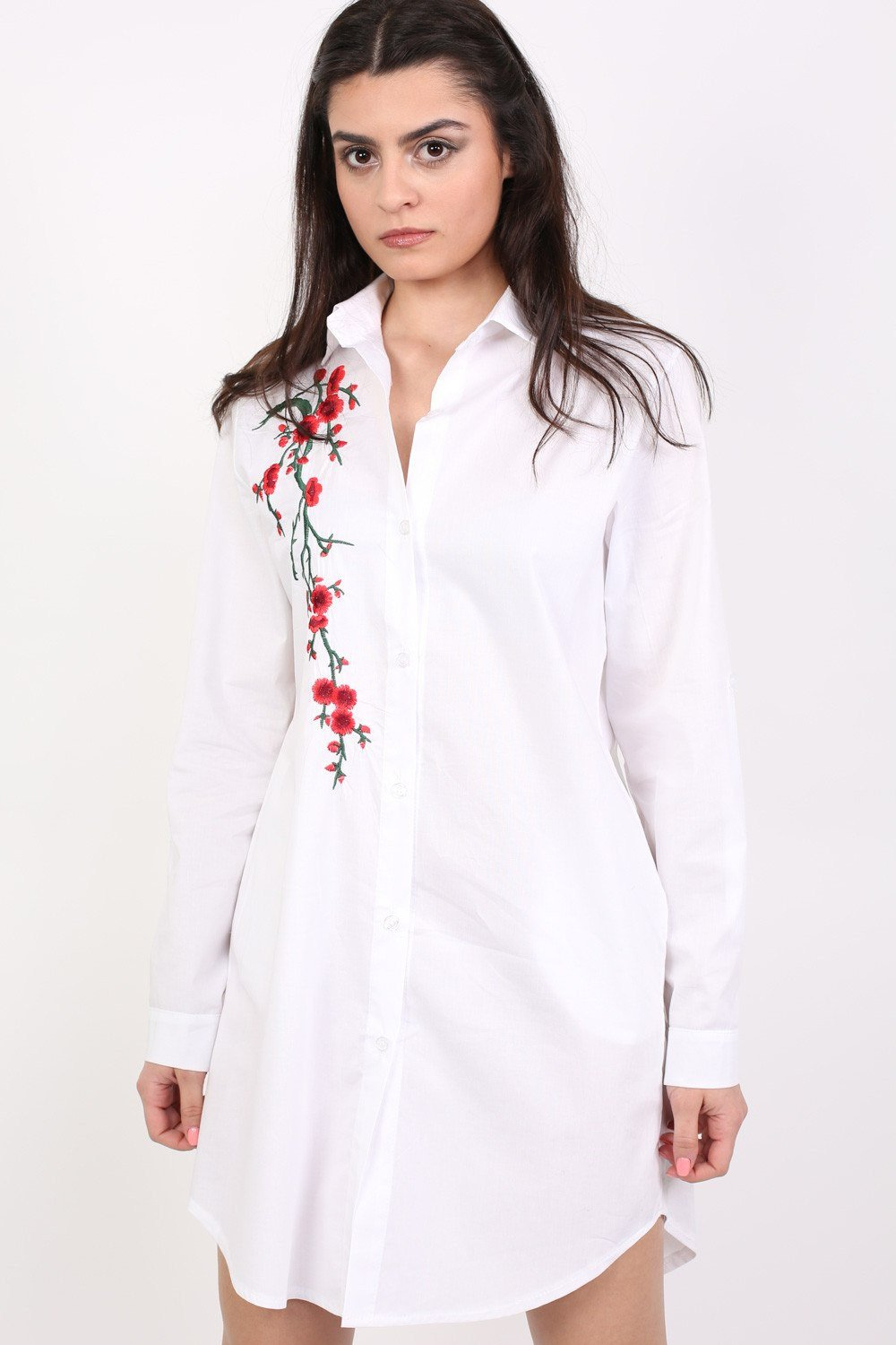 Floral Embroidered Shirt Dress in White 0