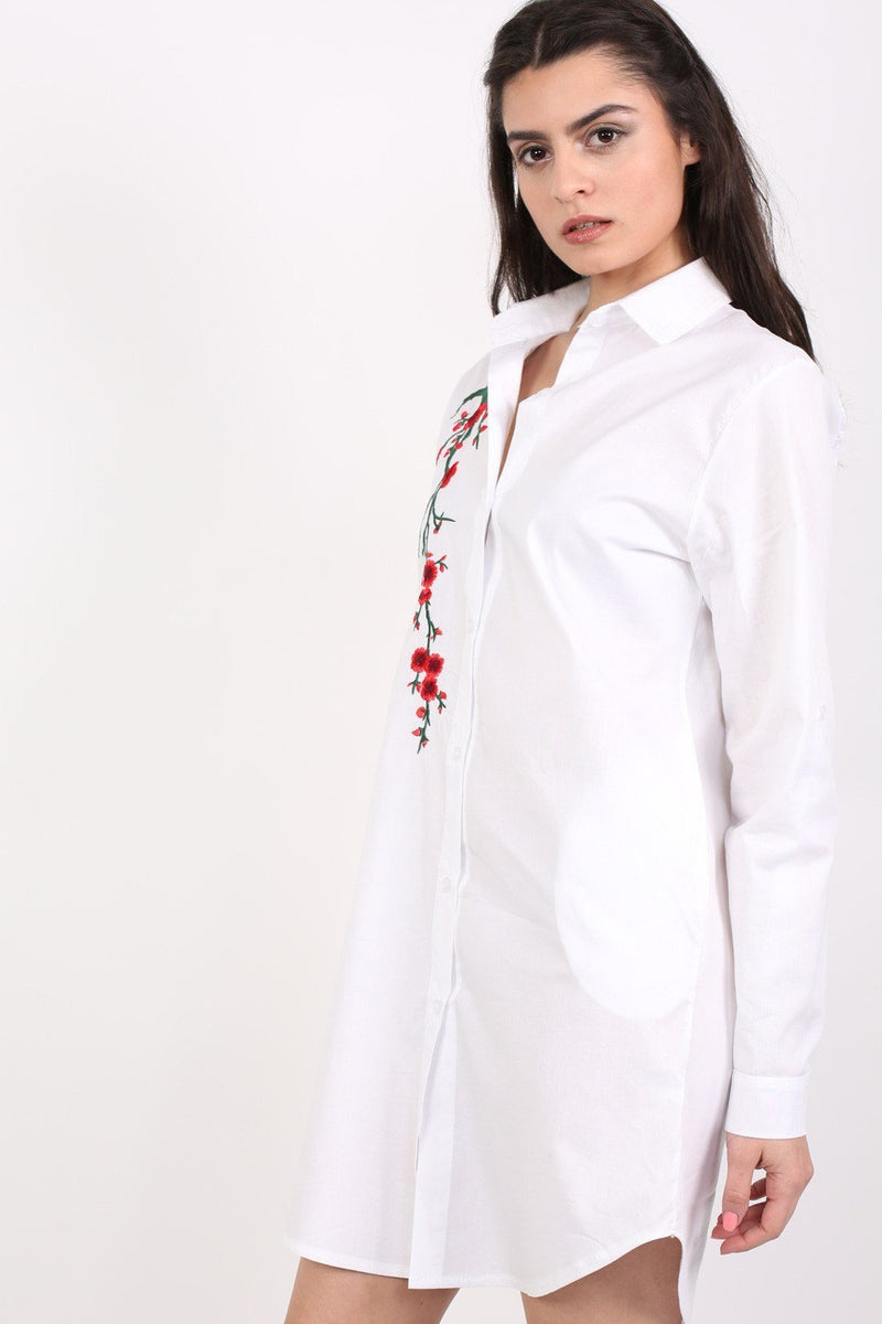 Floral Embroidered Shirt Dress in White 2