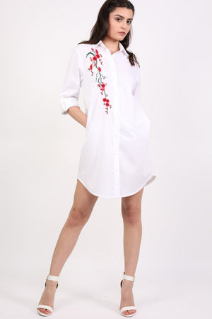 Floral Embroidered Shirt Dress in White 4