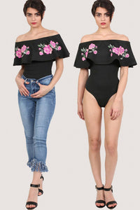 Embossed Floral Print Frill Bardot Bodysuit in Black 0