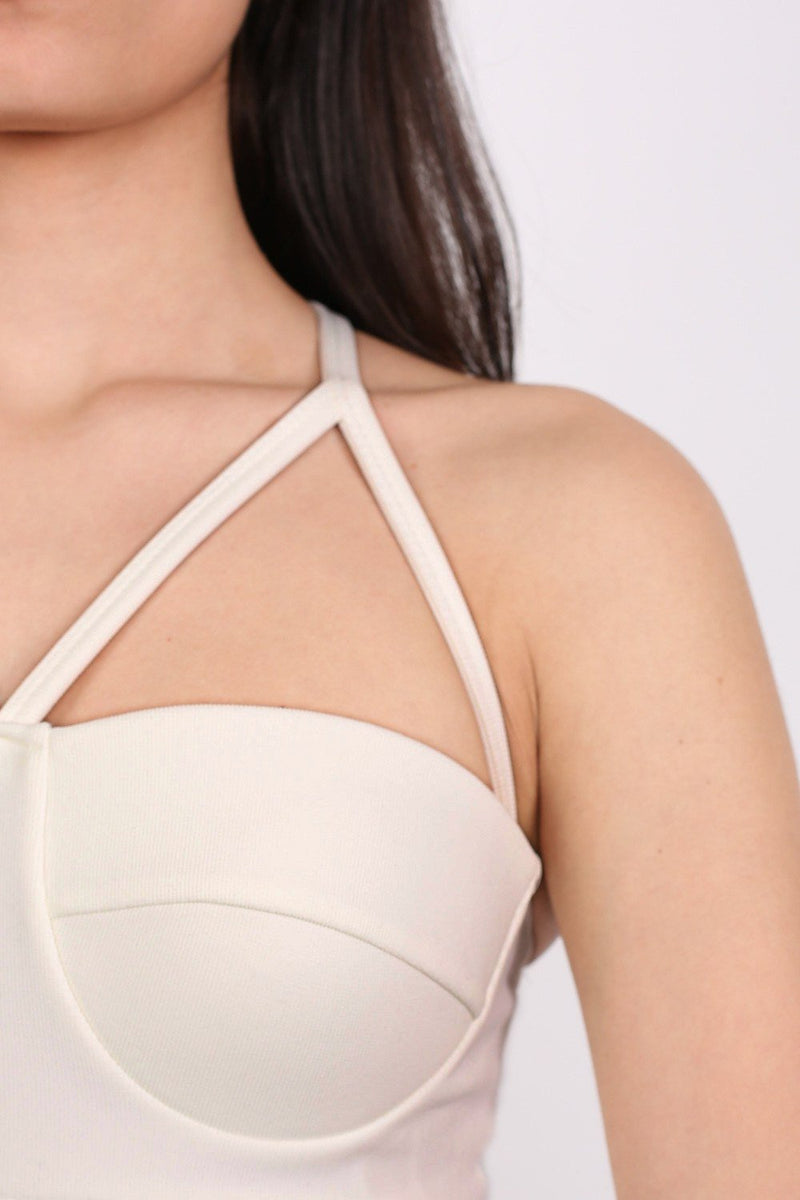 Ribbed Bandage Strappy Top in Cream 1