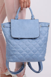 Quilted Detail Backpack in Blue 0