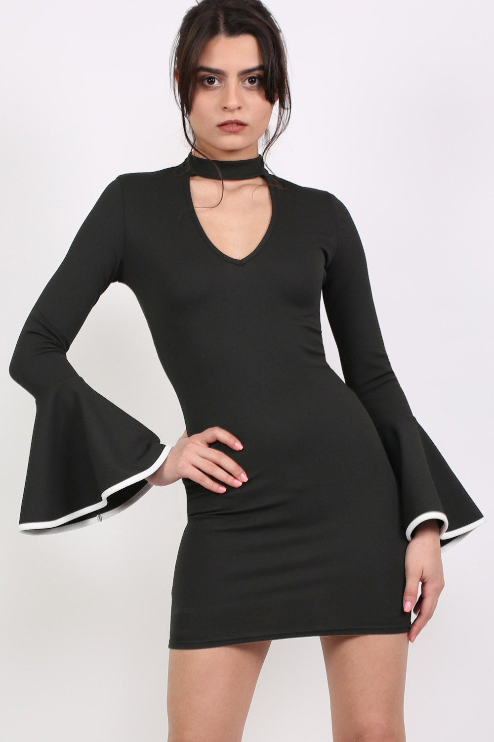 Bell Sleeve Choker Neck Bodycon Dress in Black 0