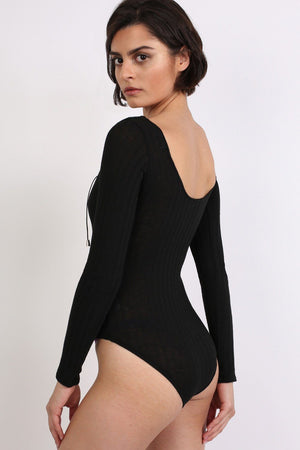 Ribbed Lace Up Front Long Sleeve Bodysuit in Black 3