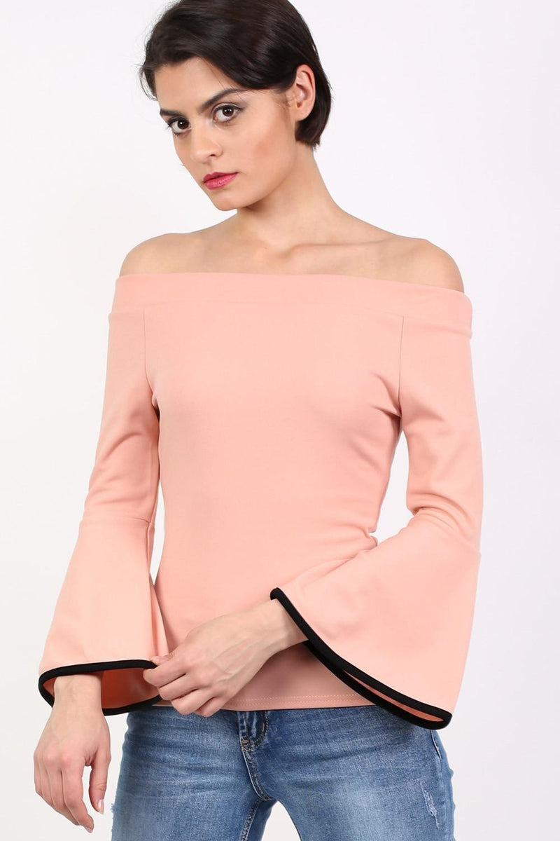 Bell Sleeve Bardot Top in Dusty Pink 0