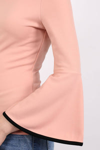 Bell Sleeve Bardot Top in Dusty Pink 2