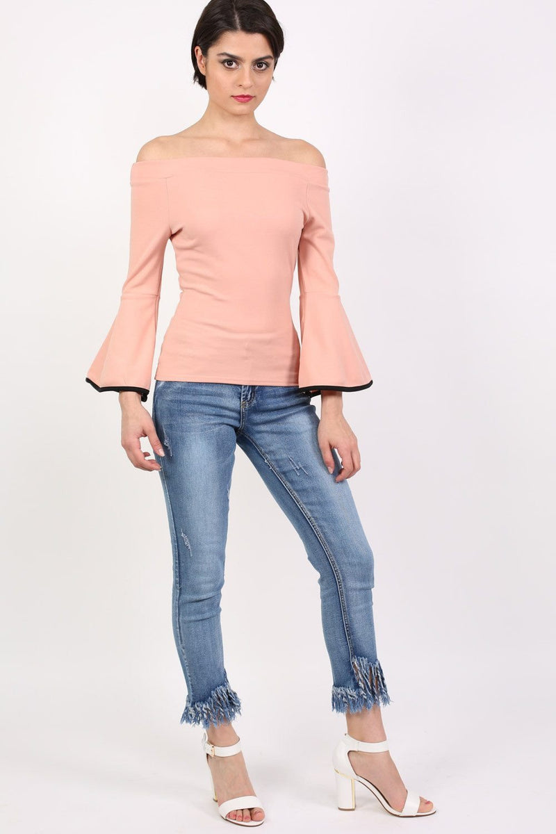 Bell Sleeve Bardot Top in Dusty Pink 3
