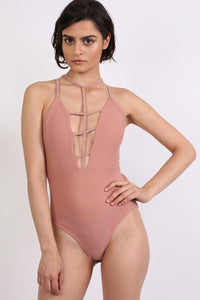 Ladder Caged Front Bodysuit in Rose Pink 1