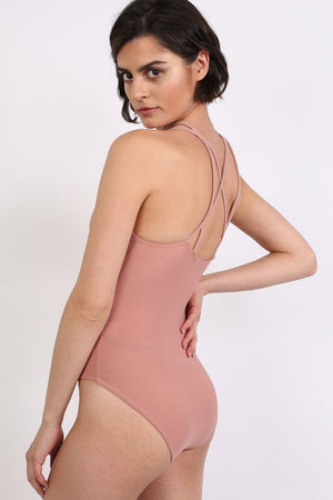 Ladder Caged Front Bodysuit in Rose Pink 2