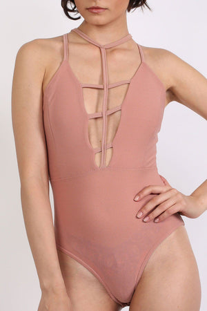 Ladder Caged Front Bodysuit in Rose Pink 3